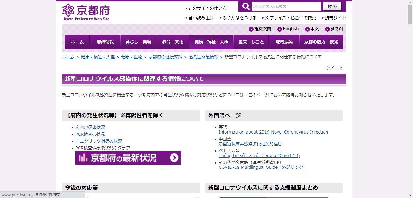 京都府の新型コロナウイルス感染症への対応状況