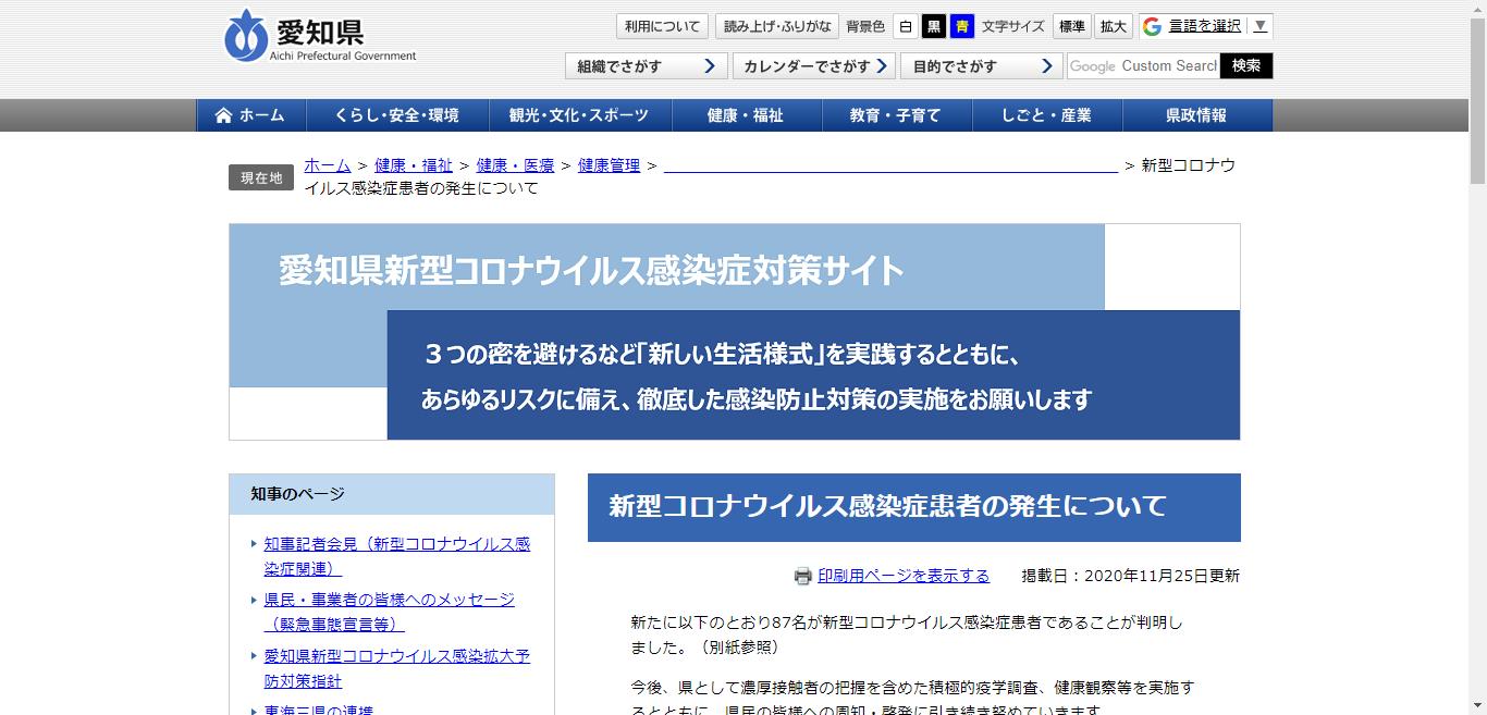 愛知県の新型コロナウイルス感染症への対応状況