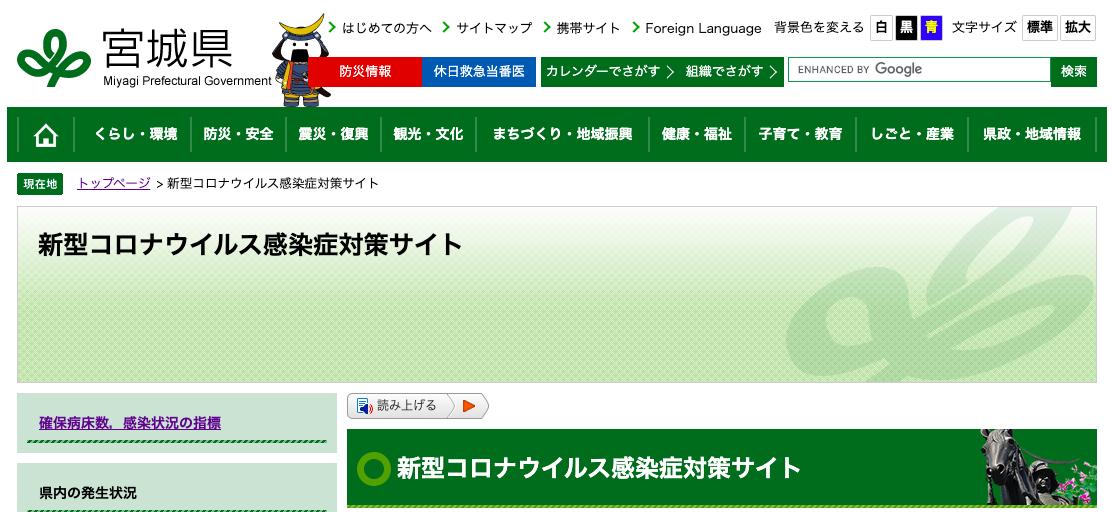 宮城県の新型コロナウイルス感染症への対応状況